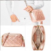 Michael Kors Leather Quilted Camera Bag/Crossbody - Rose Gold